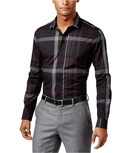 Calvin Klein Men's Long Sleeve Diamond Plaid Dobby Weave Button Down Shirt, Artemis Red, Large