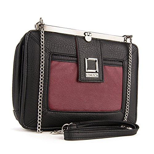 Cindy Shoulder Handbag Clutch for ZTE Max / Maven / Blade / ZMax2 / Axon Pro / Lux / Elite / Obsidian (Wine)