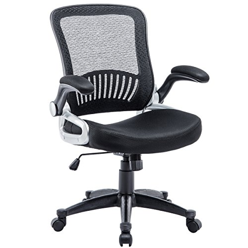 Kerms Ergonomic Adjustable Swivel Office Chair with Lumbar Support and Rollerblade Wheels-Mid Back with Breathable Mesh-Thick Seat Cushion-Flip Up Arms,Desk Chair Black