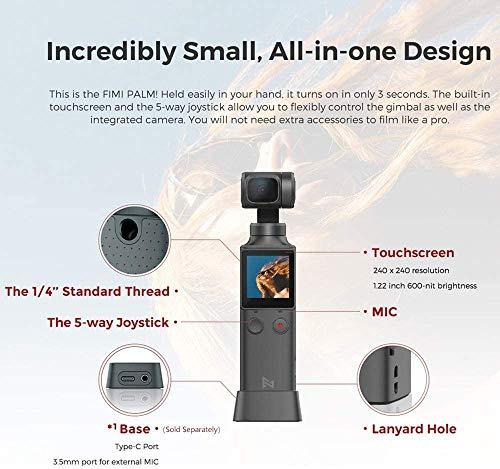 FIMI Palm Stabilizzatore cardanico a 3 assi tascabile con fotocamera intelligente 4K, obiettivo ultra grandangolare 128 °, 120g, microfono incorporato e microfono esterno supportati 4 spesavip