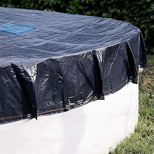 Bâche Piscine 4,2 m - Ronde - Filet d'écoulement - Bleu - Résistante - Anti-UV - Œillets