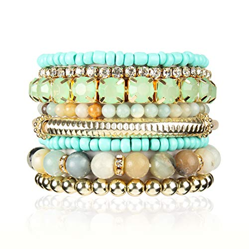 RIAH FASHION Multi Color Stretch Beaded Stackable Bracelets - Layering Bead Strand Statement Bangles (Natural Stone - Amazonite, 8)