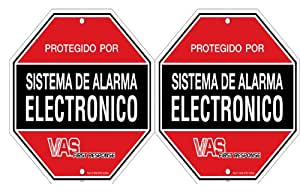 "VAS #1054SPD ""SPANISH"" SECURITY DECAL - (2)  Burglar Alarm System Warning Decals"