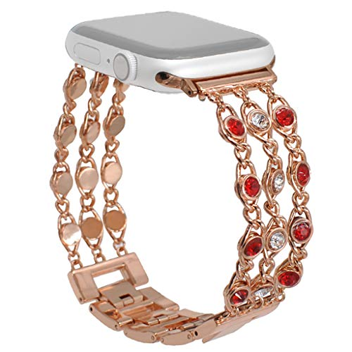 4 C Jewellery Gems - Kitt Fashion Jewelry Band Compatible with Apple Watch Series 4 3 2 1 38mm 40mm, Women Luxury Gem Chain Bling Crystal Stainless Metal Replacement Strap for Apple Watch Band 38mm/40mm (C)