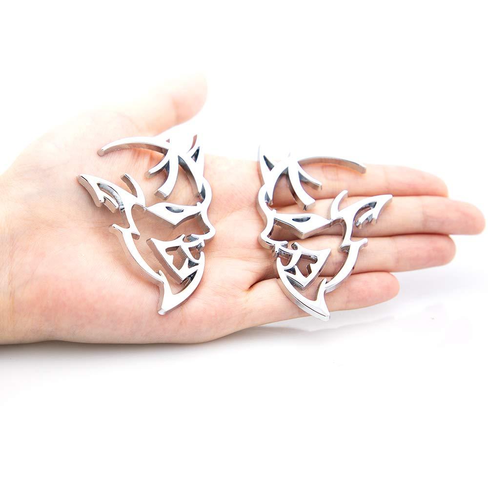 Silver CARRUN 2pcs Demon Challenger Metal Emblem 3D Metal Decals Sticker For Auto Car