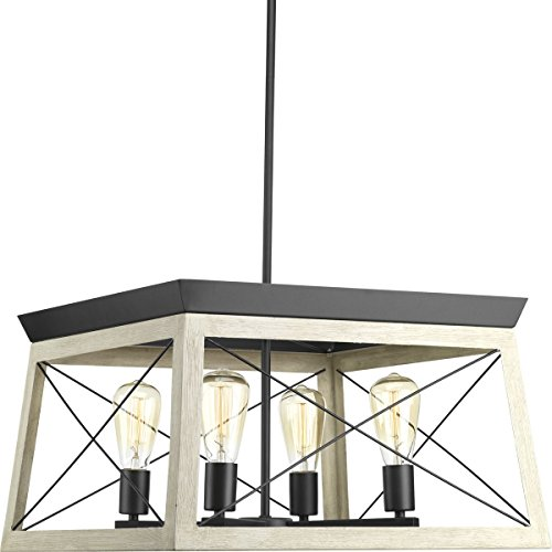 Progress Lighting P400047-143 Briarwood Graphite Four-Light Chandelier,