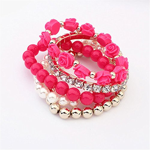 Swyss 1 Set Acrylic Sweet Multi-Layer Rose Flower Bangle Pearl Shining Rhinestone Crystal Elastic Bracelet (Hot Pink)