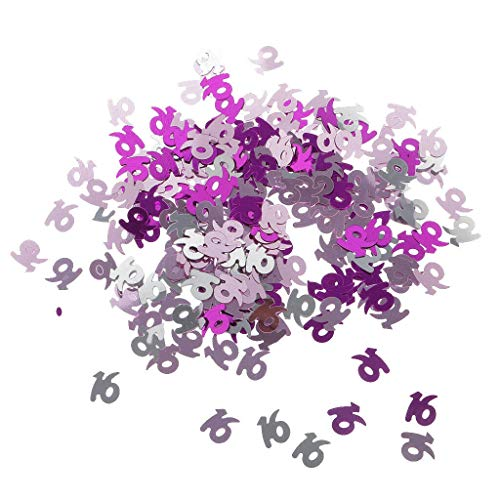 BROSCO Sprinkles Age Figures Numbers Birthday Anniversary Table Confetti Foil Scatters | Numbers - Pink Silver 16