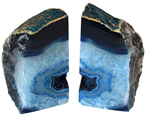 Genuine Brazilian Extra Quality Agate Bookends - Certified Mineral Guide Card Included. 3-6 lbs (Blue) (Royal End Blue)