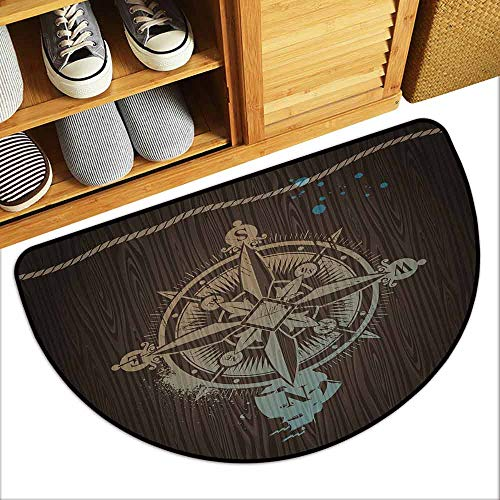 YOFUHOME Compass Non-Slip Door mat Boating Windrose with Ship Rope on a Wooden Background Marine Life Inspired Design Breathability W29 x L17 Tan Brown