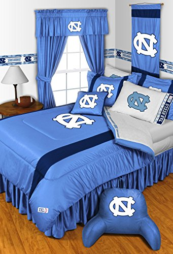 North Carolina Tar Heels 5 Piece FULL SIZE Comforter Bedding Set - Entire Set Includes: (1 Full Size Comforter, 2 Pillow Shams, 2 Pillow Cases) (Carolina Comforter)