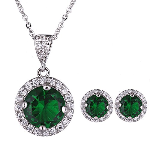 AMYJANE Emerald Necklace Earrings Set Women - 14k White Gold Plated Green Round Cubic Zirconia Crystal Pendant Necklace and Halo Stud Earrings Jewelry Set May Birthstone Necklace Set Fashion Jewelry