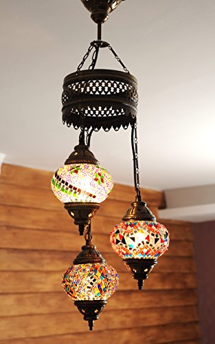 Choose from 12 Designs) Turkish Moroccan Mosaic Glass Chandelier ...