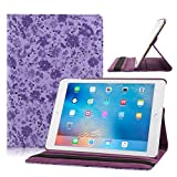 TOPCHANCES Slim Mordern Smart Cover Case for the iPad Air, iPad 5 with Auto Sleep/Wake Function Built in Stand-Green Embossed Flowerss Case (Huamulan Dark Purple)