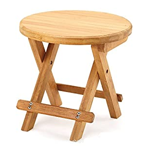 A Little Lemon Wooden Foldable Footstool Fishing Shower Step Stool Domestic Chair for Children Kids Leisure Round