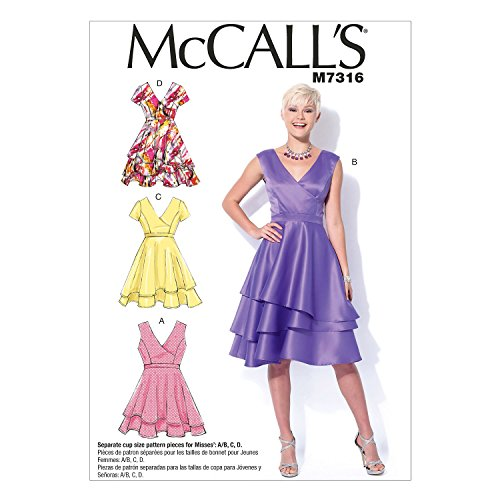 McCall's Patterns M7316 Misses' Asymmetrical Tiered Dresses, Size A5 (6-8-10-12-14)