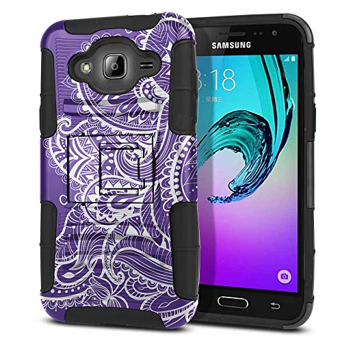 FINCIBO Case Compatible with Samsung Galaxy J3 J310 J320 2016, Dual Layer Hybrid Armor Protector Case Cover Stand TPU for Galaxy J3 J310 (NOT FIT J3 PRO, J3 Emerge) - Purple Paisley Floral Flowers
