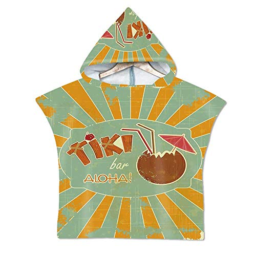 Tiki Bar Decor Soft Hooded Beach Bath Towel,Vintage Design Exotic Cocktail Aged Look Aloha Fun Party Decorative for Teenagers & Children,23.6''W x -