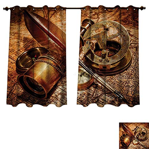 Anzhouqux Antique Blackout Thermal Curtain Panel Compass Goose Quill Pen Spyglass and a Pocket Watch Lying on an Old Map Print Patterned Drape for Glass Door Orange Brown W55 x L45 inch