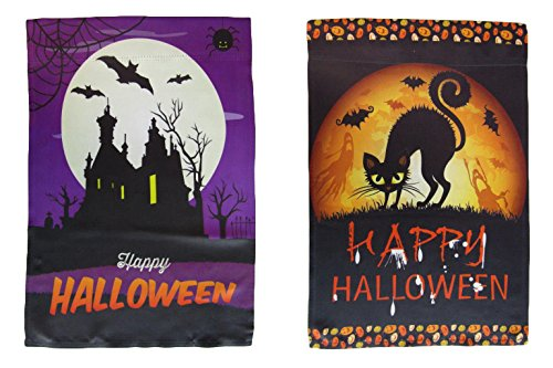 ALBATROS 12 inch x 18 inch Happy Halloween #5 Vertical Sleeve Flag for Garden for Home and Parades, Official Party, All Weather Indoors -