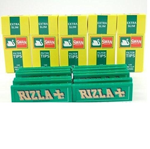 Rizla Green Rolling Papers and Swan Extra Slim Filter Tips (600) by Country