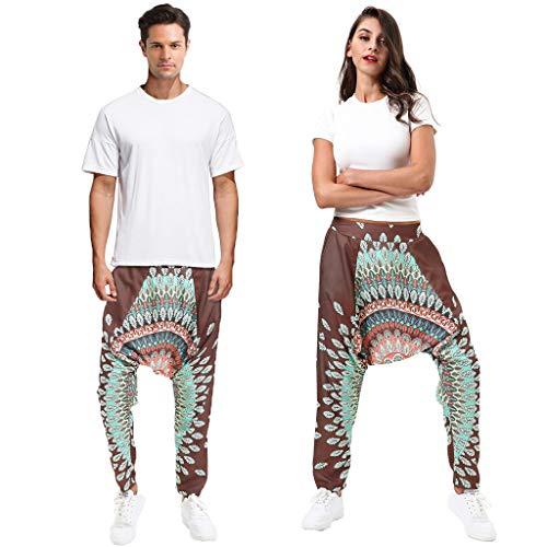 - JOFOW Unisex Harem Pants Ethnic Flowers Floral Pattern Print Aladdin Pajamas Bottom Loose Comfy Vintage Long Saggy Trousers (M,Brown & Green)