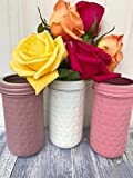 Mason Pint Jars Rustic Fall Centerpiece Set Pink and White Baby Shower Painted Glass Flower Vases For Sale