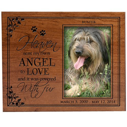 LifeSong Milestones Personalized Pet Memorial Picture Frame with Paw Prints Custom Made Sympathy Pet Picture Frame Holds 4x6 Photo Heaven Sent My Own Angel to Love and It was Covered in Fur