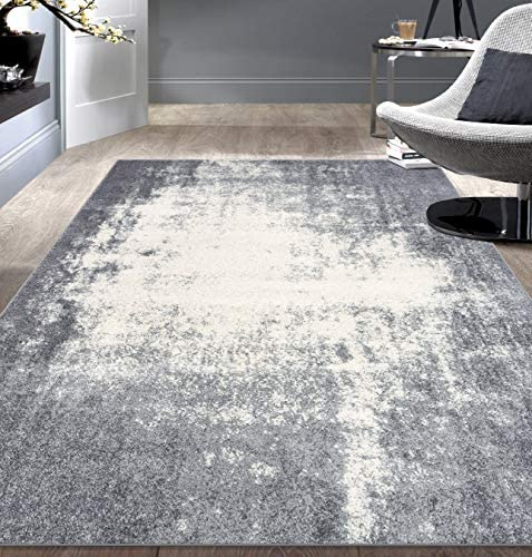 Rugshop Distressed Abstract Ultra Soft Shag Area Rug 7' 10″ x 10' Gray