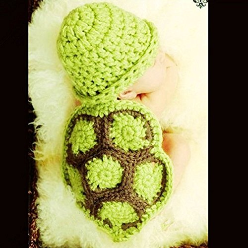 Baby Turtle Costume (Pinbo Baby Newborn Photography Props Baby Outfits within 0-6 months, Cute Tortoise Style)