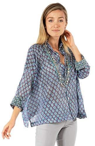 - Gretchen Scott Comfy Cozy Hand Block Print Cotton Voile Blouse (Gooseberry, XS/S)