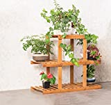 ALUS- Multi-storey balcony flower pot rack Multi-layer solid wood flower racks indoor living room Landing Wooden flower racks ( Size : Three layers )