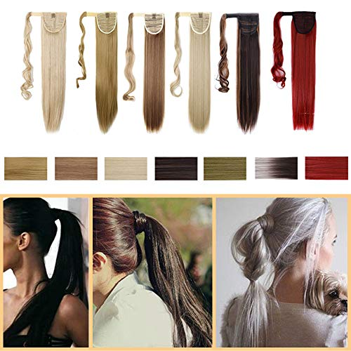 S-noilite Ponytail Hair Extension Magic Paste Ponytail One Piece Synthetic Straight Curly Hairpiece Blonde Black Brown (17-26