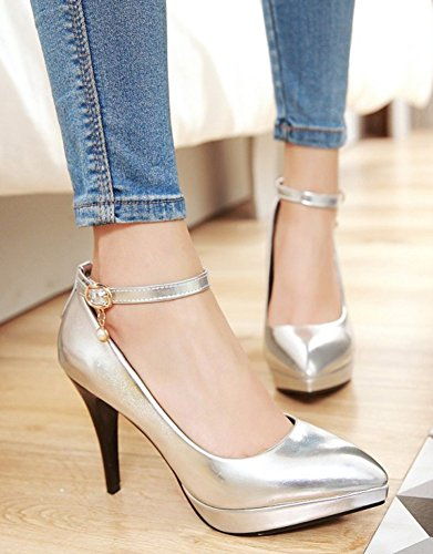 Elegant Womens Silver Pumps High Toe Pointed Shoes Easemax Stilettos A7xqTwqZz