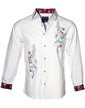 Jimi Hendrix Long Sleeve Button up Fashion Shirt 'Bleeding Heart' 1129W