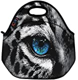 Blue Eye Leopard Thermal Neoprene Waterproof Kids Insulated Lunch Portable Carry Tote Picnic Storage Bag Lunch box Food Bag Gourmet Handbag Cooler warm Pouch Tote bag For School work Office FLB-019