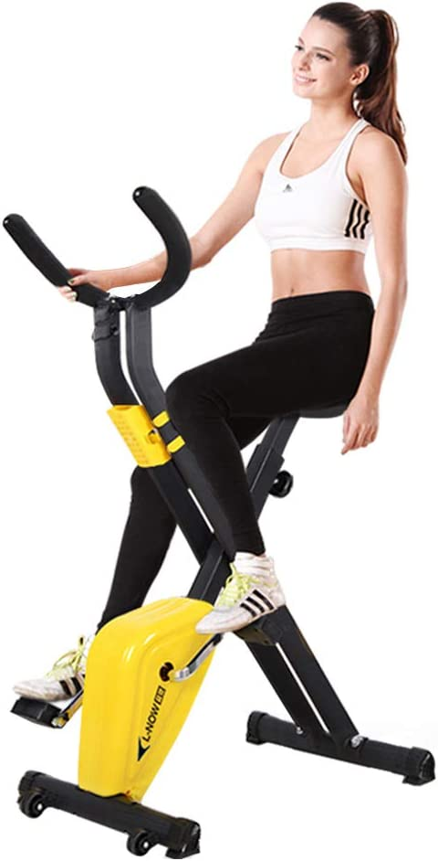 Dumbbells,Pull Rope,Pulse pooboo Folding Magnetic Exercise Bike Adjustable Resistance Foldable Cycling Bike Indoor Upright Stationary Bicycle with LCD Monitor/&phone holder