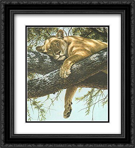 (Lake Manyara Lioness 2X Matted 18x15 Black Ornate Framed Art Print by Guy Coheleach )