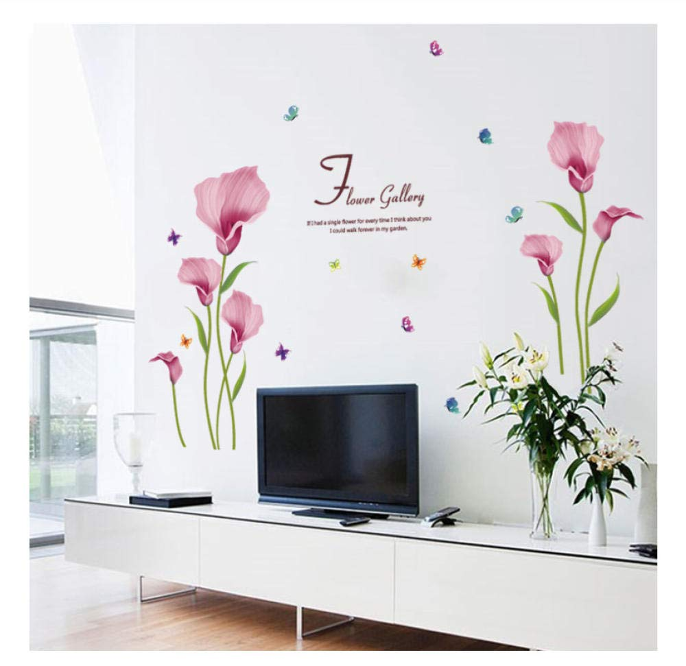 GUOXIN12 Blooming Pink Calla Lily Flowers Butterfly Wall Stickers ,Romantic Bedroom Living Room Wardrobe DIY Removable Decoration Decals by GUOXIN12