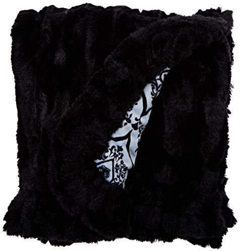 BESSIE AND BARNIE Versailles Blue/Black Puma Luxury Ultra Plush Faux Fur Pet, Dog, Cat, Puppy Super Soft Reversible Blanket (Multiple Sizes) by BESSIE AND BARNIE (Image #4)