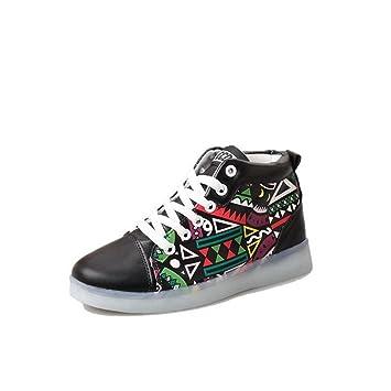 Graffiti LED-helle Schuhe Sommer- und Herbstart und weise beiläufige Schuhe sieben Farben ändern elf Arten des blinkenden Modus , Black , 39