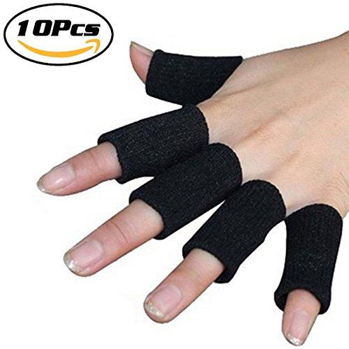 Finger Sleeves Support by Luniquz, Thumb Splint Brace for Arthritis Breathable Elastic Finger Tape for Basketball, Tennis,Baseball, Cricket, Volleyball, Badminton, Boating /Black