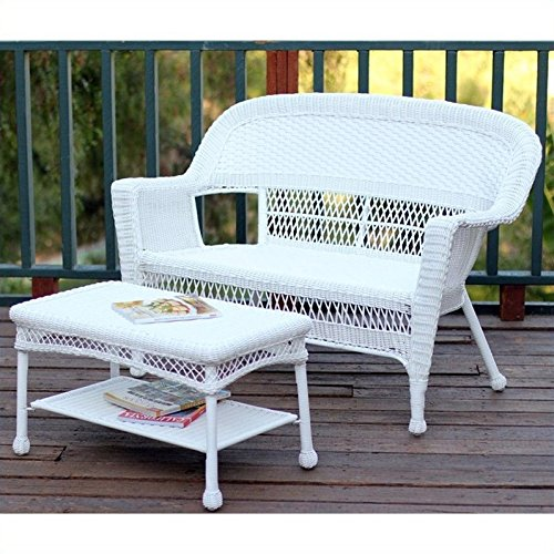 Jeco W00206-LCS Wicker Patio Love Seat and Coffee Table Set without Cushion, White by Jeco Inc.