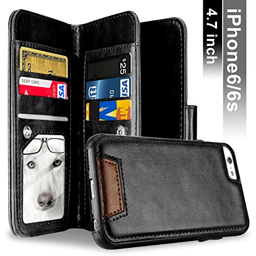Price comparison product image iPhone 6 Case,  iPhone 6S Case,  Samcore Leather Wallet Flip Case with Detachable Folio,  Card Slots,  Premium PU Leather,  Retail Box for iPhone 6 / 6S 4.7 Inch [BLACK]