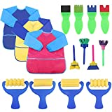 Cofisons 12 Pack Early Learning Mini Flower Sponge Painting Brushes Craft Brushes Set and 3 Pack Kids Art Smocks, Children Waterproof Artist Painting Aprons Long Sleeve with 3 Pockets for Kids