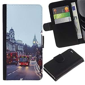 For Apple iPhone 4 / iPhone 4S,S-type® Bus Street England City - Dibujo PU billetera de cuero Funda Case Caso de la piel de la bolsa protectora