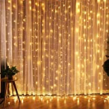 LED Curtain Lights Fairy Window String Lights 300 LED 3M*3M 8 Modes with IR Remote Control Wire Lights Waterproof for Indoor Outdoor Christmas Party Wedding Bedroom Decoration,USB Plug/Warm White