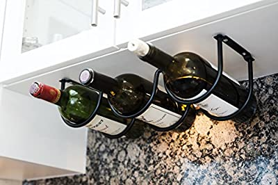 Wallniture Under Cabinet Durable Iron Wine Storage Rack for 3 Liquor Bottles
