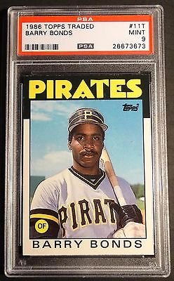1986 Traded Topps Barry Bonds - 1986 TOPPS TRADED BARRY BONDS ROOKIE PSA 9 50-50 PIRATES (303)