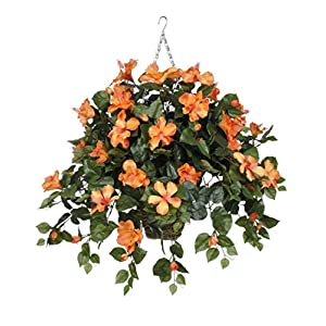 House of Silk Flowers Artificial Orange Hibiscus in Square Hanging Basket 66